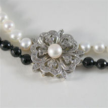 SOLID 18K WHITE GOLD NECKLACE WITH ROUND PEARLS, ONYX AND DIAMONDS MADE IN ITALY image 4