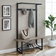 Hall Tree Bench Shoe Storage Free Standing Coat Rack Stand Entryway Mudr... - $239.95