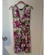 KAREN KANE Fuschia Floral Sleeveless  Stretch Faux Wrap Dress Size S Pre... - $24.74