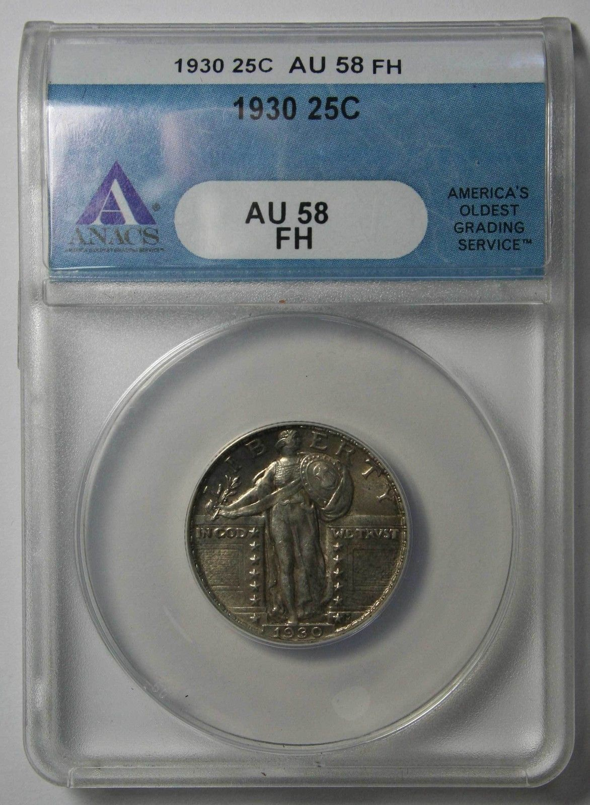 1930 STANDING LIBERTY QUARTER 25¢ Coin AU58 FH Full Head ANACS Lot# SR 1139