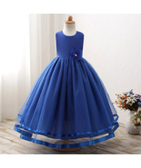 Cute Royal Blue Color Party Wear Tulle Gown for Girls - $52.99+
