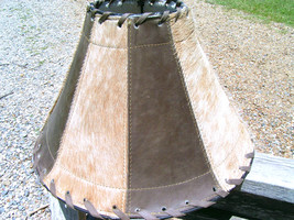 Cowhide Leather Lamp Shade Brown Southwest 1325 bz - $159.98