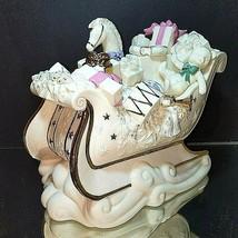 """1 LENOX HOLIDAY DELIVERY Porcelain & 24K Gold Sleigh Candleholder 10.5"""" ... - $52.24"""