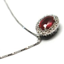 Necklace White Gold 750 18K, Flower, Ruby 0.85 Oval, Diamonds, Chain Venetian image 4