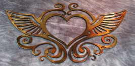 Ornamental Heart and Wings Copper/Bronze Plated Metal Wall Decor - $19.79