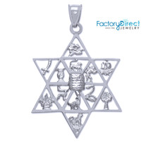 Star of David with Twelve Tribes of Israel White Gold Pendant - $176.39+