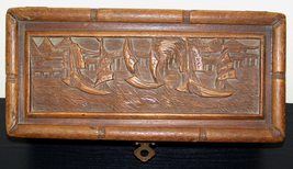 Antique Vintage large Carved Wooden lockable Treasure Box boats Ships Sa... - $457.69