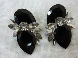 Vintage 80s LESLEY ROY Clip On Earrings Black Onyx Diamond Rhinestones A... - $89.05
