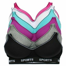 Women's Pack of 6 Supportive Molded Cup Athleisure Sports Bra S315  Size - 42D