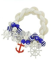 Blue White Stripe Red Crystal Anchor Charm Beaded Stretch Bracelet Aural... - $19.97
