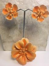 Vintage Enamel Flower Pin Clip Earring Set Orange - $19.29