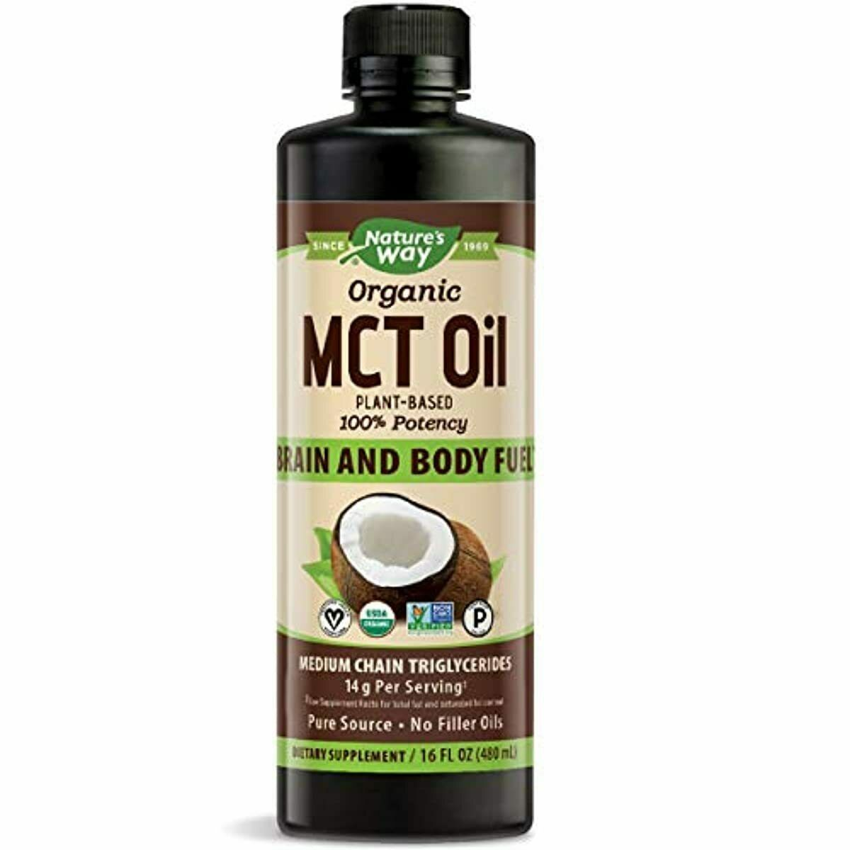 Nature's Way Organic MCT Oil From Coconut, Non-GMO, Gluten-free, 14 g MCTs  - $16.78 - $36.70