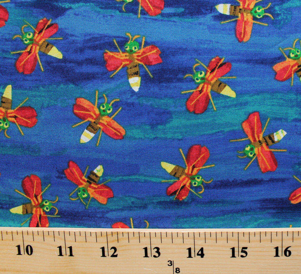 The Very Series Fireflies Flying Blue Cotton Fabric Print by the Yard D786.11