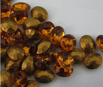 2 Vintage Topaz Colored Faceted Rhinestone - $2.50