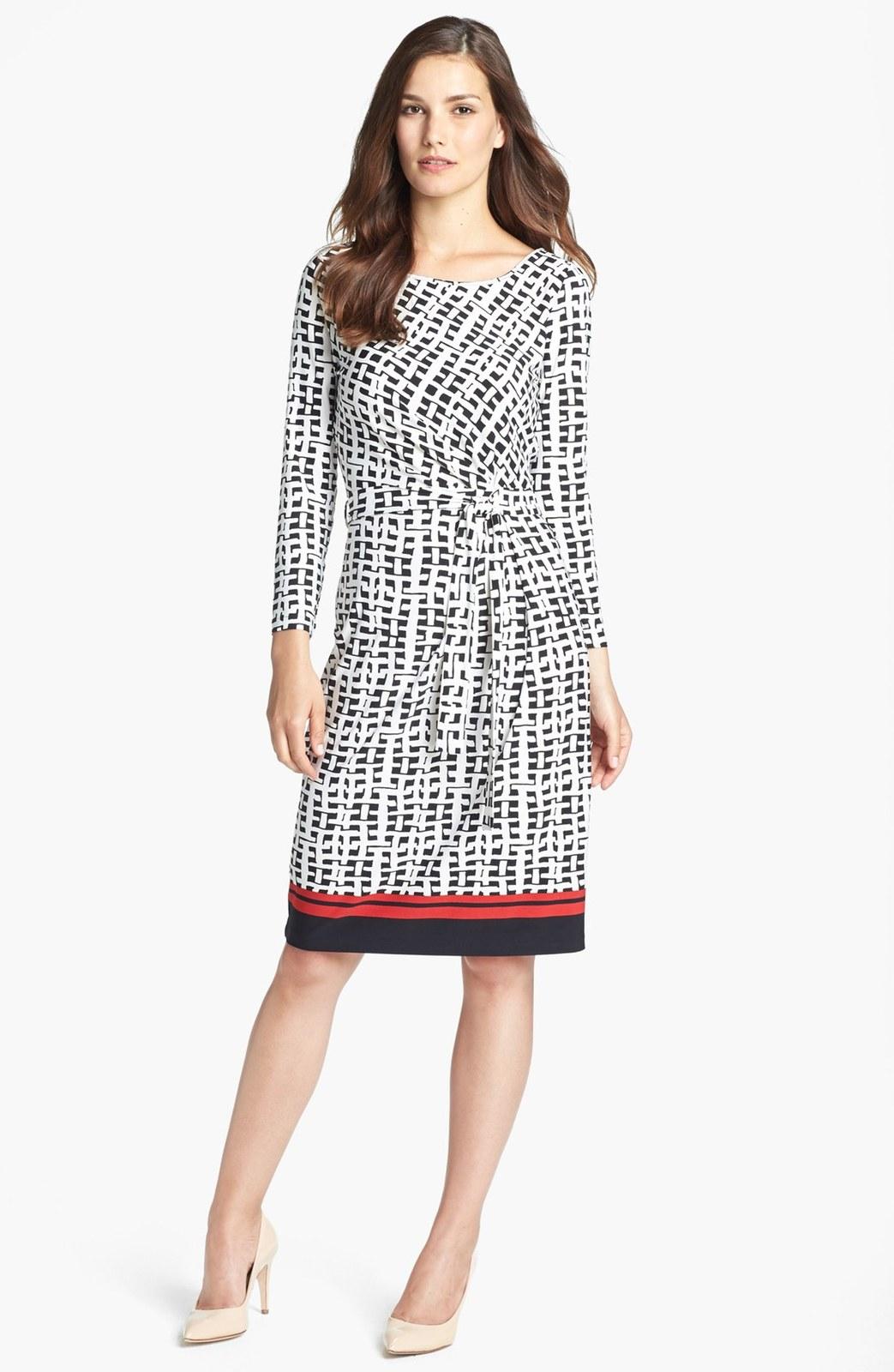 Anne klein black camellia multi tie front wicker print dress product 1 14480220 585165964