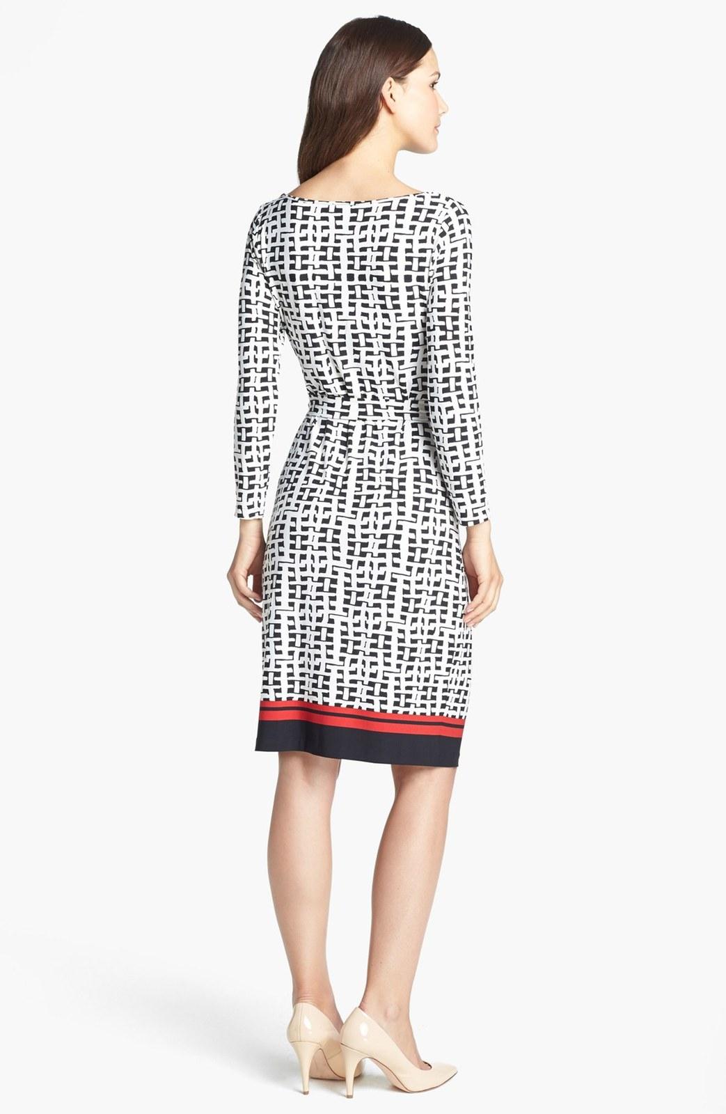 Anne Klein Black Tie Front Wicker Print Dress size M