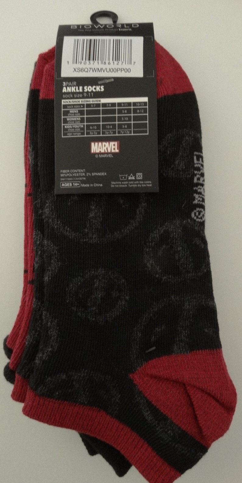 Deadpool Marvel Comics 3 Pack Ankle Socks Nwt