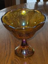 Vintage Marigold Carnival Iridescent Glass Grape Leaf Pedestal Bowl - $59.97