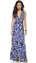 DVF Orchid Silk Jersey Maxi Wrap Dress In riveria buds multi blue size 10 - $359.00