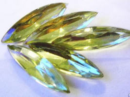 2 Vintage Jonquil Colored Glass Navettes - $2.25