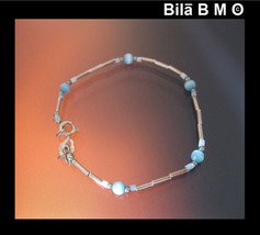 Vintage STERLING Silver BRACELET with Opalescent BLUE Beads - 7 inches - $20.00