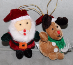 "OTC 4"" Christmas Ornaments Plush Santa and Reindeer - $4.99"