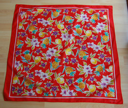 """Tropical Echo Cotton Square Scarf Red Fruits Pineapple Lemons Flowers 30"""" - $20.00"""