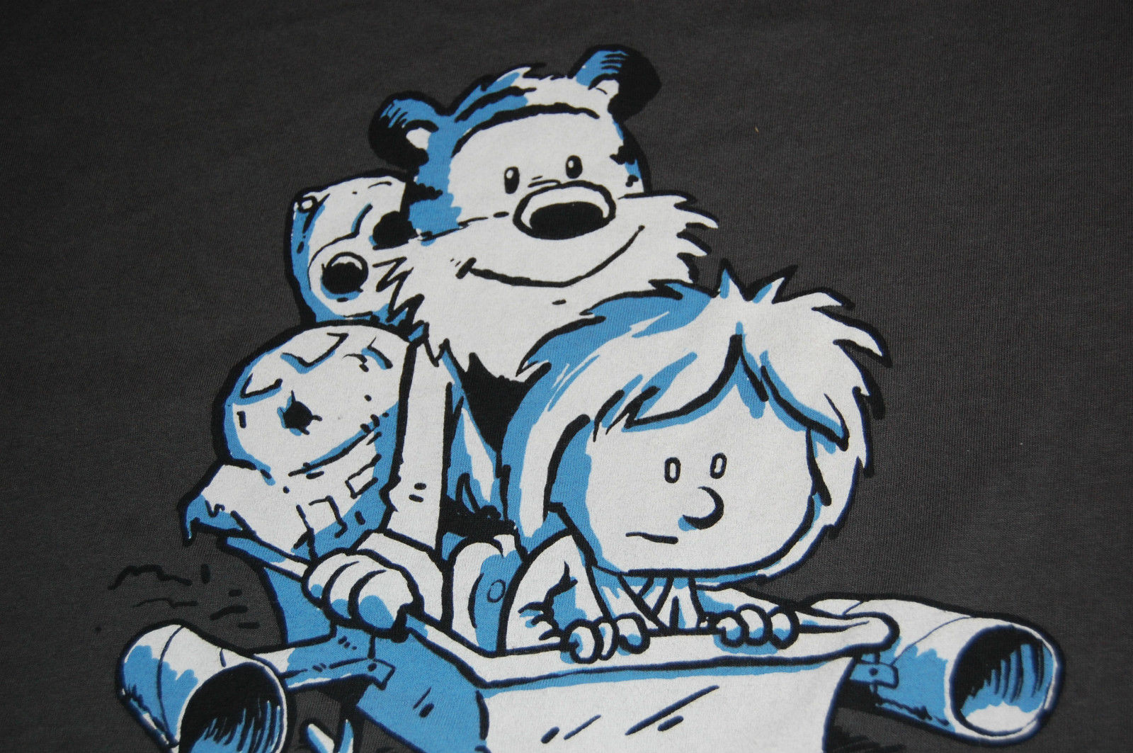 Calvin and Hobbes Star Wars Mash Up T Shirt Medium Not the Droids Billy Allison