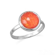 Sterling Silver 925 Round Shape Freeform Faceted Quartz over Coral Ring - $89.99