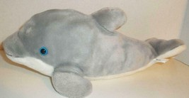 "Official Sea World Gray Bottlenose Dolphin 20"" Plush Doll Stuffed Toy Blue Eyes - $7.99"