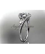 Unique leaf bridal ring, 14k white gold diamond  engagement ring with a ... - $1,745.00