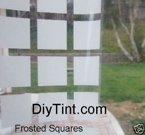 "FROSTED SQUARES decorative window film Tint 37X60"" deco"