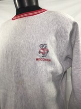 VTG Champion Reverse Weave Sweatshirt XL Wisconsin Badgers 80's 90s Tri-... - $42.49