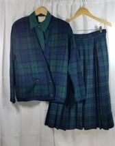 Pendleton Black Watch Tartan Skirt Women Set Size 10 Plaid Wool Pleated ... - $47.49