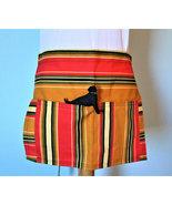 Orange Striped Handmade Half Apron, 2 Pocket Apron, Teacher Apron, Vendo... - $12.00