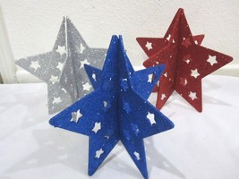 Patriotic 4th of July Glitter Star Table Hanging Decorations Set of 3 - $16.99