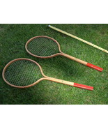 ANTIQUE RARE SOVIET USSR RUSSIAN SMALL BADMINTON RACKET MATCHED PAIR 1968 - $59.39
