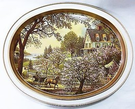 "Currier Ives lithograph ""The Season of Blossoms"" oval metal tray repro - $14.84"