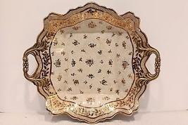 Beautiful Oriental Porcelain Plate Tray Gold Gilt Flower Leaf Brass Handle - $118.79