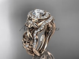 14kt rose gold diamond unique engagement set, wedding set   ADLR300S  - $2,325.00