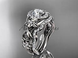 Unique nature inspired bridal ring set, 14kt white gold diamond unique e... - $2,575.00