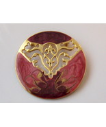 Pin With Pink And Dark Red Enamel On Gold Tone - $12.00