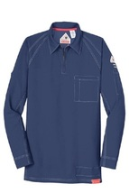 BULWARK iQ FIRE RESISTANT LONG SLEEVE BLUE POLO SHIRT PERSONALIZED - $162.00