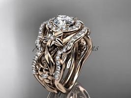 Unique nature inspired bridal ring set, 14kt rose gold diamond engagemen... - $3,425.00