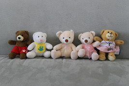 Build A Bear Workshop Mini Bear Collection of 5 Plush Bear Stuffed Anima... - $7.45