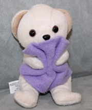 "Snuggle Beanie Teddy Bear 5"" Plush With Purple Blanket Stuffed Animal Toy - $7.45"