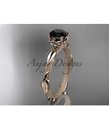 Black diamond unique nature inspired bridal ring, 14k rose gold diamond ... - $925.00