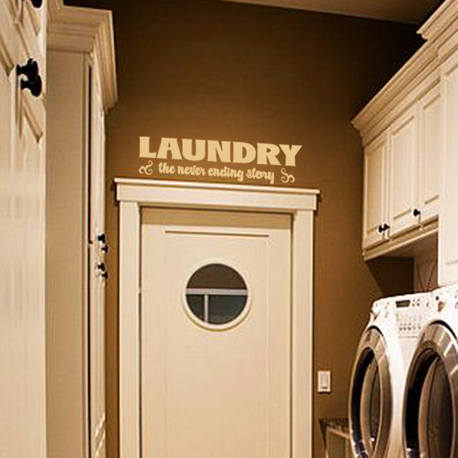 "Laundry Room the Never Ending Story Vinyl Wall Quote Sticker Decal 22""w x 5.5""h"