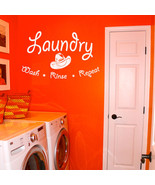 """Wash Rinse Repeat Laundry Room Vinyl Wall Quote Sticker Decal 36""""w x 22""""h - $29.99"""