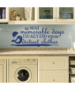 """Dirtiest Clothes Laundry Room Vinyl Wall Quote Sticker Decal 22""""w x 8.5""""h - $17.99"""